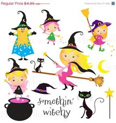 60% OFF SALE SOMETHIN' Witchy - Clip art set and digital papers set in premium quality 300 dpi, Png and Jpeg files.
