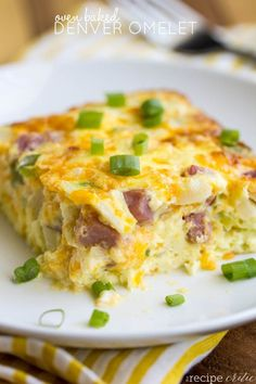Oven Baked Denver Omelet at http://therecipecritic.com A delicious oven baked omelet that is ready to be thrown in the oven in no time! 8 eggs ½ cup half and half cream 1 cup shredded cheddar cheese 1 cup chopped fully cooked ham ½ cup onion ½ cup green pepper