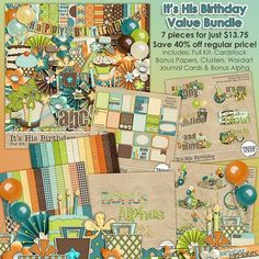 It's His Birthday Digital Scrapbooking Value Bundle It's time to wish your favorite boy a very Happy Birthday and with this digital scrapbooking collection from Trixie Scraps, you can scrap all the photos from the day in style! Filled with great patterns and fun party touches, this jam-packed collection is one you'll reach for again and again.