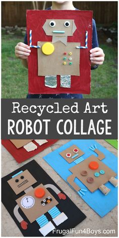 Cardboard Robot Collage – Frugal Fun For Boys and Girls - Recycled Crafts Kids 2020 Cardboard Robot, Cardboard Crafts, Fabric Crafts, Stem Activities, Toddler Activities, Summer Activities, Kids Crafts, Jar Crafts, Kids Diy