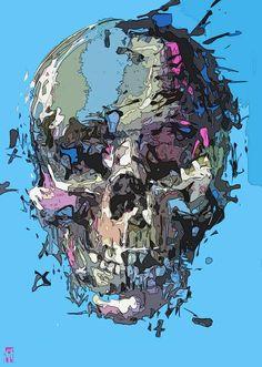 Skull Artwork by Steve Locatelli The Lovely Bones, Crane, Skull Artwork, Skull Logo, Skulls And Roses, Flower Skull, Skull Design, Fantastic Art, Urban Art