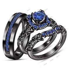 1.36Ct Round Sapphire 14K Black Gold His/Her Wedding Engagement Trio Ring Set #Affoin8 #TrioRingSet #WeddingAnniversaryEngagement