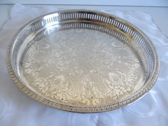 Round Silverplate Waiters Tray with Reticulated Rope Edge - Elegant Serving Piece - Home Decor by SecondWindShop on Etsy