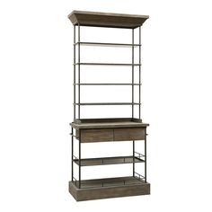 Grey oak bookshelf with iron frame from Brucs. The industrial style open shelving unit combines the classic combination of dark raw metal with natural timber. The sleek metal frame supports the shelves which are perfect for displaying keepsakes or books. The bookshelf also has two wooden storage drawers as well as two shelves underneath this to offer a practical and stylish storage piece. Place yours in the study or hallway for a grand addition of timeless style to the interior.