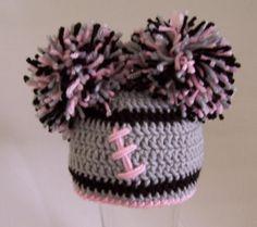 Crocheted baby girl football beanie  Oakland Raiders by kleelong, $26.00