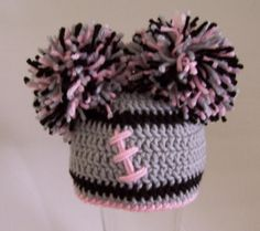 Crocheted baby girl football beanie  Oakland Raiders by kleelong, $18.00
