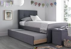 The Capri white bonded leather trundle guest bed is the perfect bed for sleepovers and combines contemporary styling with functionality. Simple slide out the under bed which is mounted on easy glide castors, to reveal a versatile trundle bed. Please note the main bed is designed for a standard single mattress 90cm x190cm the underbed is designed to take a slim mattress max 15cm. The standard price for this bed is excluding the mattress, for prices including mattresses please see our mattr...