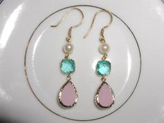 Pearl and Pastel Crystal Dangle Earrings by luvswoodencars2, $27.00