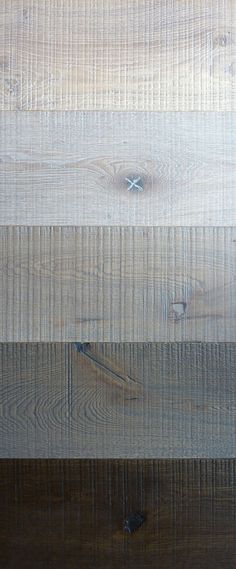 grey oak flooring wire-brushed and cross cut from top: white oak, smoked white oak, light grey oak, dark grey oak, double smoked oak Grey Oak, White Oak, Dark Grey, Timber Flooring, Floor Patterns, Wood Texture, Floor Design, Wood Colors, Interior And Exterior