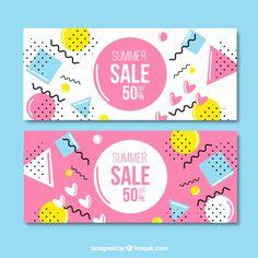メンフィススタイルピンクと白の販売バナー 無料ベクター