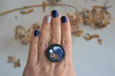 Womens Ring Ceramic Ring  Black white blue gold Adjustable