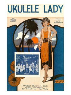 Ukulele Lady, Sheet Music, Art Deco Premium Poster
