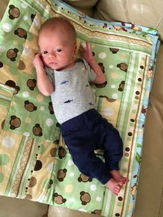 Baby B with his monkey quilt
