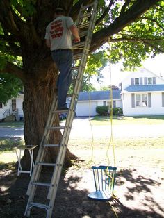 Chair Swing Swinging Chair, Chair Swing, Diy Swing, Bolts And Washers, Old Chairs, Maple Tree, Diy Chair, Easy Diy Projects, Backyard