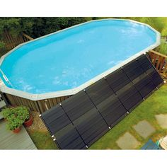 Sunheater Above Ground Pool Polypropylene Solar Heater / 2 ft. W x 20 ft. L > Polypropylene heat collector keeps your water warm Solar heater features two threaded-elbow adapters for your convenience Four stainless steel hose clamps to discourage leakage Swimming Pool Stores, Cool Swimming Pools, Above Ground Swimming Pools, In Ground Pools, Above Ground Pool Heater, Pool Fun, Diy Pool, Swimming Holes, Beach Pool