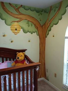Winnie the Pooh, Pooh tree, honey tree, honey bees, honey bee hive, Pooh tree, Winnie the Pooh tree, nursery mural, wall art, Winnie the Pooh nursery decorations, nursery decor, tree mural