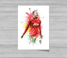 Wayne Rooney Manchester United A3 Wall Art Print by NazarArt
