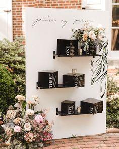 boho, black and white, modern escort card display Outdoor Wedding Signs, Diy Outdoor Weddings, Wood Wedding Signs, Wedding Signage, Seating Plan Wedding, Wedding Table, Seating Plans, Diy Wedding, Wedding Events