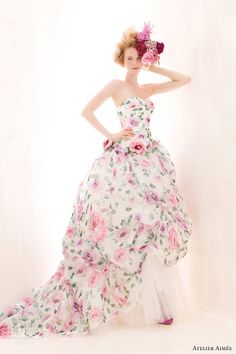 atelier aimee 2014 ursula strapless floral print wedding dress Wedding Dress Patterns, Wedding Dresses 2014, Colored Wedding Dresses, Wedding Gowns, Tiffany's Bridal, Bridal Gowns, Couture Bridal, Allure Bridal, Bridal Collection