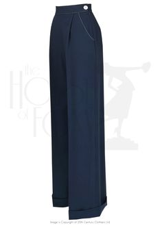 1940s Ladies Pleated Wide Leg Trousers in Navy