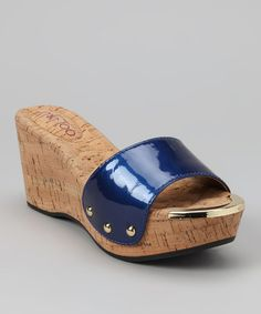 Take a look at this Cobalt Blue Patent Catrina Platform Slide by Me Too on #zulily today!