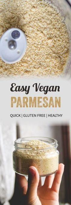 Easy 4-ingredient vegan parmesan cheese.