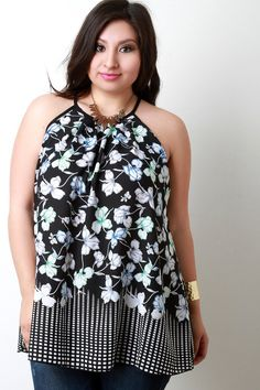 Floral and Square Print Sleeveless Top