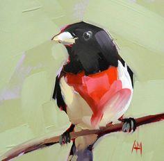 Rose Breasted Grosbeak original bird oil painting by prattcreekart