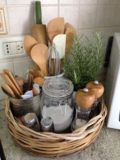 Beautiful - and useful! - kitchen vignette of your most common tools and spices