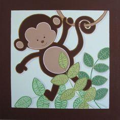 Green and Brown Mod Pod Monkeys, Nursery Art on Canvas