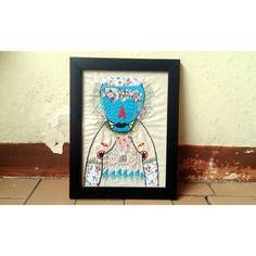 """""""Bergurau Dirumah Sendiri"""" 18 x 24 cm Embroidery 2014"""