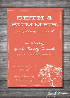 Printable Tree Handwriting Wedding Invitation.