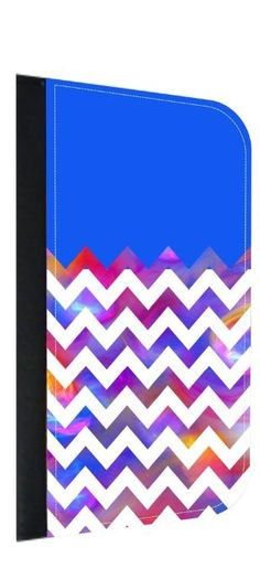 Blue Colorblock Watercolor Chevrons TM Leather-Look Apple iPhone 6+, 6s+ Wallet Case with Closing Flip Cover and Credit Card Slots Made in the U.S.A. (Not Compatible with the Standard iPhone 6, 6s)