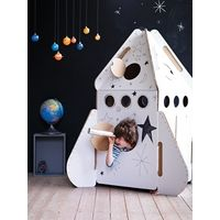 Let their imagination run wild as they build and decorate their own cardboard rocket playhouse. A great present for boys and girls alike. Age 3+ Comes flat packed, and requires adult assembly.