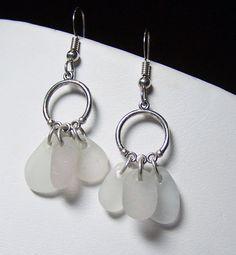 Triple Drops Sea Glass STERLING Silver EARRINGS by Seashaped