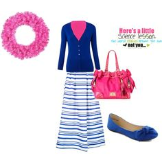 """""""Untitled #93"""" by arkgirl on Polyvore  Love the blue with the pop of pink"""