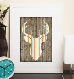 Unisex Wood Stripes Shabby Deer Head / Stag Printable Art
