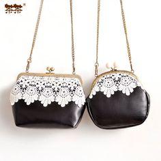 New Hasp Lace Chain Flower Vintage Elegant Brief Black Bag Mini Bags Messenger Mouth Gold Bags Lace Handbags Women's Lady Bag