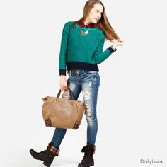 Cute boots, adorable sweater, awesome jeans, and a perfect bag. I'm in love.