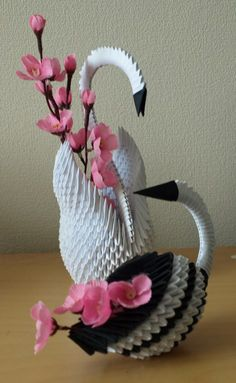 Two Birds Origami) by Denierim on DeviantArt 3d Origami Swan, Origami And Quilling, Origami Fish, Paper Crafts Origami, Paper Quilling, Oragami, Folded Paper Flowers, Origami Flowers, Origami Shapes