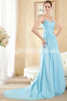 Sassy Spaghetti Straps Blue Chiffon Prom Party Dress