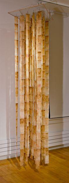 Barbara Bartlett - Mobilitea - tea sacks, bamboo,swivels, thread, wood, mesh