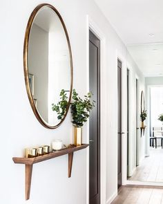 Round mirror for entryway