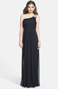 Way-In Embellished One-Shoulder Mesh Gown (Juniors) available at #Nordstrom - Elysha's prom dress #2 in deep steel blue color
