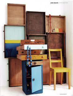 (Drawer wall) Elle Decoration, styled by Rebecca Mcevoy Market Displays, Store Displays, Window Displays, Old Drawers, Wooden Drawers, Vertical Storage, Display Shelves, Bookshelf Storage, Display Ideas
