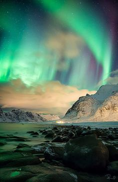 """From a visitor in Lofoten, NORWAY    Quote """" Solarstorm over Utakleiv! One of the most stunning things I´ve ever seen in my live!"""""""
