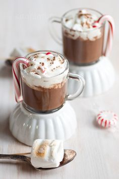 Tempting slideshow of 20 yummy ways to enjoy hot chocolate. The peppermint hot chocolate pictured is actually made with almond milk!