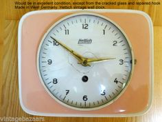 VINTAGE-HETTICH-Schwebegang-Wind-Up-WALL-CLOCK-Rare-SHAPE-Pink-West-Germany