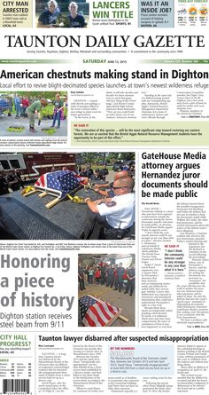 The front page of the Taunton Daily Gazette for Saturday, June 13, 2015.