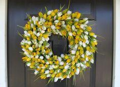 Sunny Tulip Spring Wreath- Tulip Wreath Year Round Wreath- Door Wreath- Wreath- Easter Wreath by ElegantWreath Forsythia Wreath, Tulip Wreath, Boxwood Wreath, Hydrangea Wreath, Mothers Day Wreath, Outdoor Wreaths, Year Round Wreath, Yellow Tulips, Wedding Wreaths